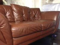 Brown Real Leather Three Seater Sofa - Excellent Condition - Very Good Quality