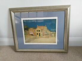 Large Silver Framed Print Picture The Yellow House by Vincent Van Gogh