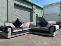 Absolutely Gorgeous grey & black velvet corner sofa brand new delivery 🚚 sofa suite couch.