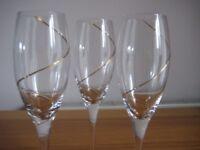 Leonardo 'Strada' Gold Spiral Champagne Flutes - three glasses, unboxed - £10