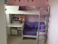 Stompa single high sleeper bed with desk sofa shelves etc