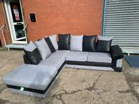 Grey & Black Corner sofa & foot stool delivery 🚚 sofa suite couch furniture