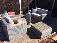 High Quality Garden Rattan Furniture Sofa Set 1x Double 2 x Chairs 1 x Table