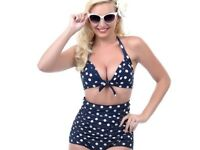 High Waisted Ruched Bikini Navy and Polka Dot New!