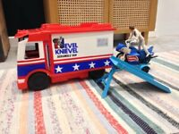 Evel Knievel van, doll and bike
