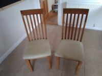 Pair of Dining Chairs, Hardwood with padded seat.