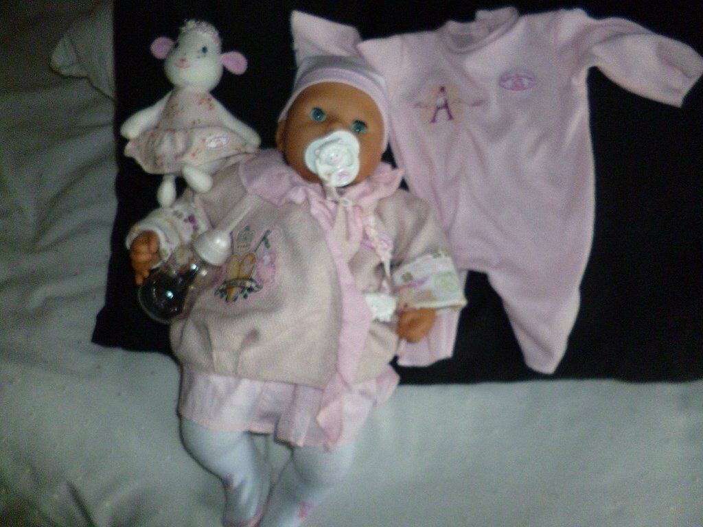 Baby Annabell interactive doll with bottle, dummy, coat ...