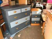 Bedroom chest of drawers and matching bedside table
