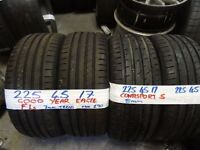 PAIR OF 225 45 17 GOODYEAR EAGLE F1s 6-7MM TREAD & PAIR CONTISPORT 5s 7MM TREAD £80 PAIR £150 SET