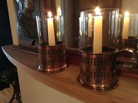 Handmade Prussian early 20th Century copper and glass candle holders. Beautiful and practical.