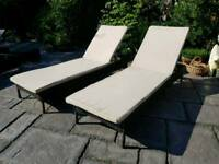2 x brown rattan sun loungers with cushions