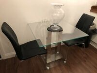 Next Glass Table & 2 Black Leather Chairs