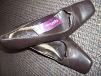 Chocolate brown M & S court shoes. Never worn. Size 5 and a half