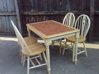 Tiled Table and 4 Farm House Style Matching Chairs