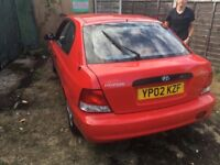Hyundai Accent 1 1341cc Petrol Automatic 3 door hatchback 02 Plate 27/03/2002 Red