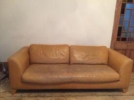 Large Leather 3 seater designer sofa