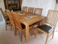 Solid oak table and chair