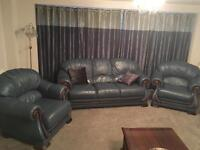 Blue leather 3 piece suite & maroon leather armchair