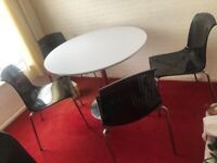 Dining room gloss white table & 4 chairs (furniture village)