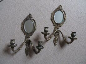 PAIR OF BEAUTIFUL ORNATE FRENCH ROMANTIC, ANTIQUE ? BRASS MIRROR CANDLE SCONCES