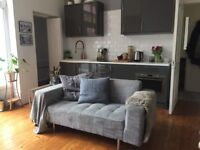 Modern grey fabric 2 seater sofa £100