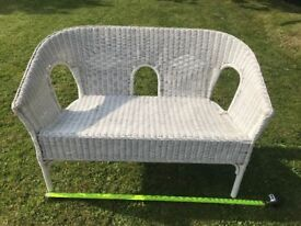 White Cane, Rattan, Wicker Double Seat