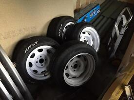 """13"""" white banded steel wheels lupo polo 4x100"""