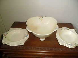 LARGE CROWN DEVON BOWL & 6 DESSERT DISHES,FROM 1940 / 50'S