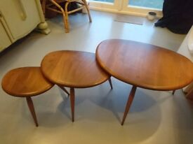 Ercol pebble nesting side tables - mid century