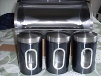 STAINLESS STEEL BREAD BIN & 3 CANISTERS (Brand New& Boxed)