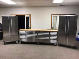 "NEW 8FT STAINLESS TOOL BENCH BOX & (2) 72"" GARAGE CABINETS WORK"