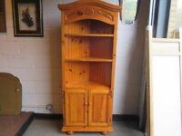 PINE CORNER DISPLAY CABINET WITH SHELVING AND CUPBOARD FREE DELIVERY
