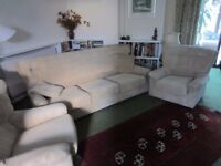 3 piece suite, beige velour, v good condition. Recently cleaned.