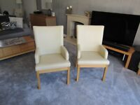 Leather and oak dining chairs