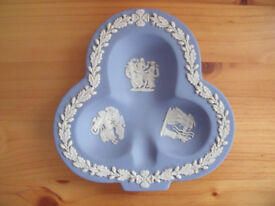 Wedgwood blue Jasper ware club shape pin dish. Good condition. £6 ovno. Happy to post.
