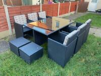 11 Piece Black Rattan Table & Chairs Furniture Set WITH CUSHIONS