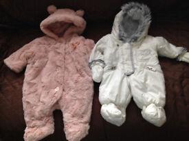 2 Baby Girls Newborn up to 9llbs Pramsuits Myleen Klass And Pink fur bear £8 both Will Post