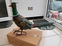 Brand new in box metal hand painted outdoor pheasant