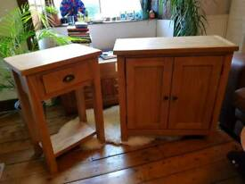 wooden side table with matching cabinet