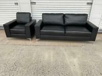 Black sofa & chair modem like new free delivery locally