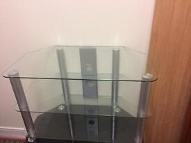 Clear glass tv unit