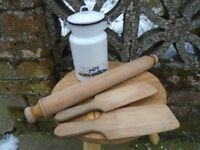 Enamel milk churn, butter pats and wooden rolling pin