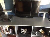 Tv stand + storage *deck stand/vinyl storage*
