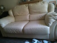 REAL LEATHER SOFA CREAM COLOUR VERY GOOD CARED FOR CONDITION some removal damage not noticable
