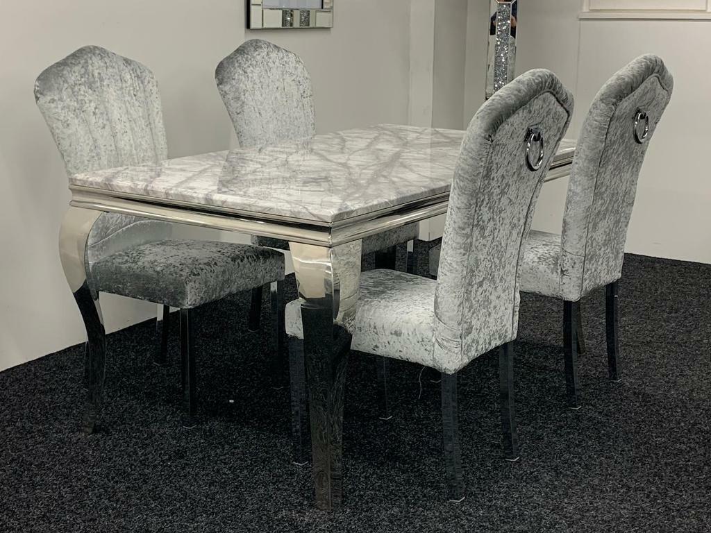 Grey marble dining table set + 4 crushed velvet knocker ...