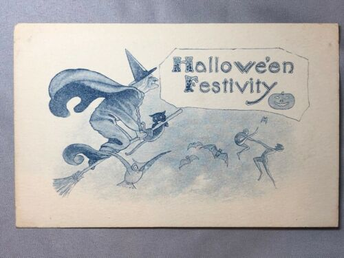 c 1910 HALLOWEEN FESTIVITY Witch GOBLINS Antique POSTCARD Samson Brothers
