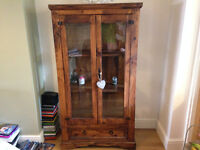 Mexican Display Cabinet (Mexican Pine) (Tucan) with drawer