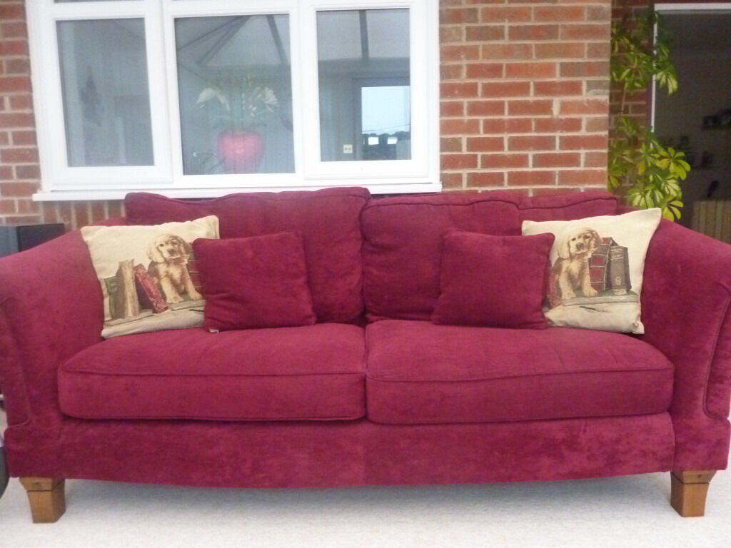 2 X Raspberry Classsic Sofas With Removable Covers