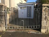 Solid metal double driveway gate