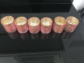 Pink/gold tealight holders x6